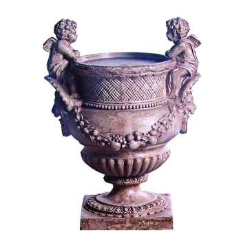 Fontaine-Modèle Cherub Urn Fountainhead, surface granite-bs3299gry