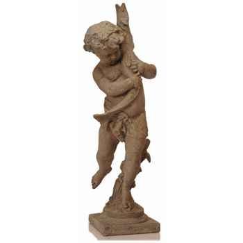Fontaine-Modèle Garden Cupid avec une représentation de poisson, surface granite-bs3177gry
