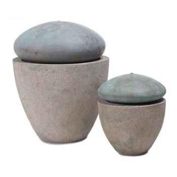 Fontaine-Modèle Thimble Fountain Large, surface granite avec bronze-bs3380gry/vb