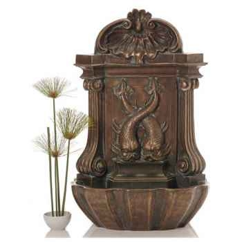 Fontaine-Modèle Amadeo Wall Fountain, surface bronze avec vert-de-gris-bs3372vb