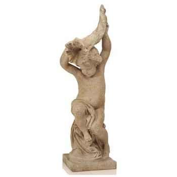 Fontaine-Modèle Garden Cupid w. Curnocopia Fountainhead, surface marbre vieilli combinés avec or-bs3144wwg