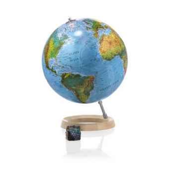 Globe Full Circle FC2L - Globe lumineux - Cartographie de type antique - diam 30 cm - Base hêtre et axe aluminium