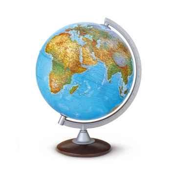 Globe de bureau - Atlantis 30 - Globe géographique lumineux - Cartographie double effet : physique éteint, politique allumé - diam 30 cm - hauteur 42 cm