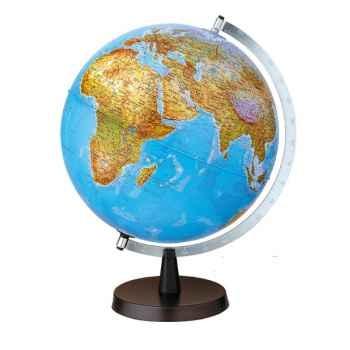 Globe de bureau Aqua B - Globe géographique lumineux - Cartographie double effet : physique éteint, politique allumé - diam 30 cm - hauteur 42 cm