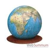 globe geographique colombus lumineux modele deco sphere boule verre 34 cm sur socle wenge co213423