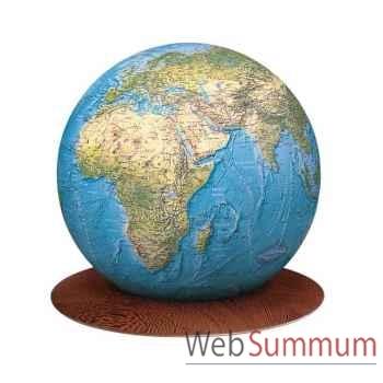 Globe géographique Colombus lumineux - modèle Déco - sphère boule verre 34 cm sur socle wenge-CO213423