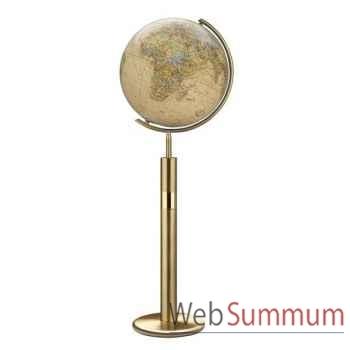 Globe géographique Colombus lumineux - modèle Prestige  - sphère 40 cm, méridien métal laiton-CO224079