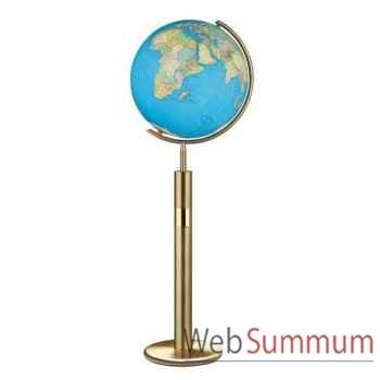 Globe géographique Colombus lumineux - modèle Prestige  - sphère 40 cm, méridien métal laiton-CO204079