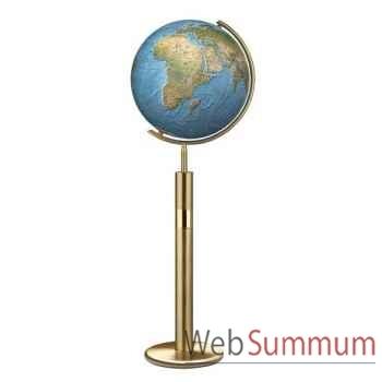 Globe géographique Colombus lumineux - modèle Prestige  - sphère 40 cm, méridien métal laiton-CO214079