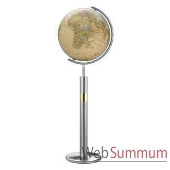 Globe géographique Colombus lumineux - modèle Prestige  - sphère 40 cm, méridien métal acier fin-CO224089