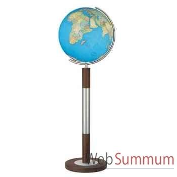 Globe géographique Colombus lumineux - modèle Prestige  - sphère 40 cm, méridien métal acier fin-CO204088