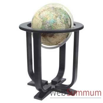 Globe géographique Colombus lumineux - modèle Prestige  - sphère 40 cm, méridien métal aluminium-CO2240501
