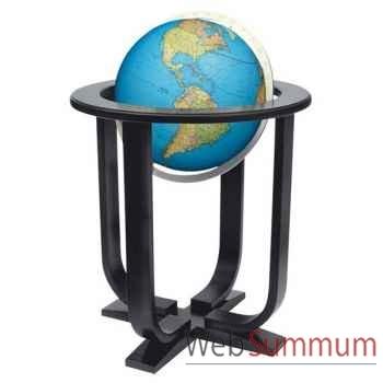 Globe géographique Colombus lumineux - modèle Prestige  - sphère 40 cm, méridien métal aluminium-CO2040501
