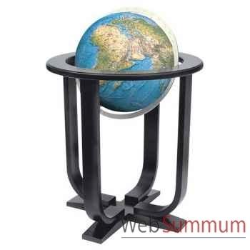 Globe géographique Colombus lumineux - modèle Prestige  - sphère 40 cm - méridien métal aluminium-CO2140501
