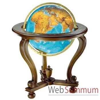 Cartothèque EGG-Globe Ligne Prestige lumineux, sphère 51 cm Duo en verre de cristal, pied corbeil noyer-CO205150