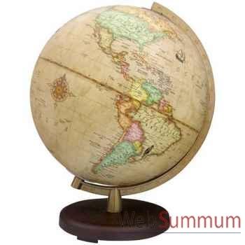 Globe géographique Terra lumineux - modèle Terra - sphère 26 cm, méridien plastique doré-TR602613