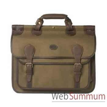Baron-4007-02-Serviette à document en toile/cuir vert.