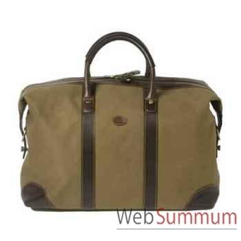 Baron-4029-02-Sac week-end en toile/cuir vert.