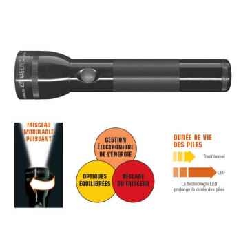 Mag Led 2-ST2D016-Lampe Torche  2D  3 Watt - 2 piles alcalines LR20/D (sous blister) - noir