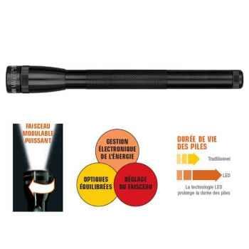 Mag Led-Mini3AA-Mini Lampe Torche  3 Watt - 3 piles LR6/AA (en blister avec étui nylon noir)