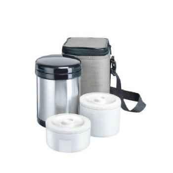 Isostell-9565IS-Boite pour aliments isotherme 1 L, en acier avec 2 compartiments et sac isolant.