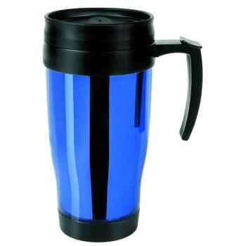 Isostell-CLKK13BL-Tasse colorline 40 cl, double paroi plastique, finition chromée brillante.