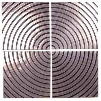 Décoration murale Concentric Wall Plaque Set, aluminium et patine or -bs4122alu -org