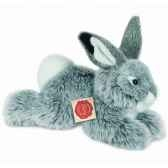 peluche lapin couche gris hermann teddy collection 28cm 93753 1