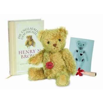 Peluche Ours Hugo par Henry N. Brown avec livre Mohair Hermann Teddy original 28cm 15513 3