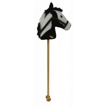 Peluche baton cheval - cheval noir et blanc histoire d\'ours 2097