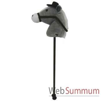 Peluche baton cheval - cheval gris avec chapeau histoire d\'ours 2099
