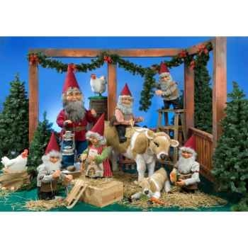 Automate - lutin du père noël sur l'échelle Automate Décoration Noël 114