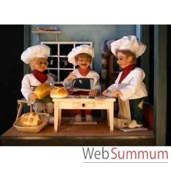 Automate - boulanger assis avec un pain Automate Décoration Noël 198