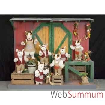 Automate - chèvre et 6 enfants dansants Automate Décoration Noël 278