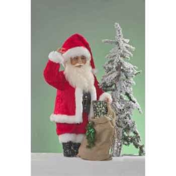 Automate - père noël saluant avec sac Automate Décoration Noël 301