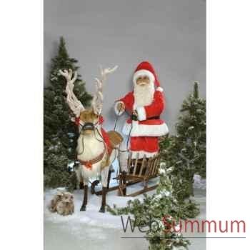 Automate - renne et père noël sur son traineau Automate Décoration Noël 315