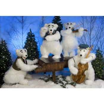 Automate - orchestre d'ours polaires (4 personnages) Automate Décoration Noël 390