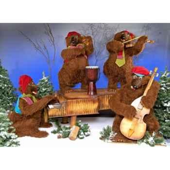 Automate - orchestre d'ours bruns (4 personnages) Automate Décoration Noël 395