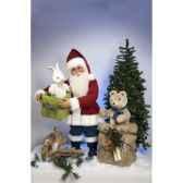 automate pere noeavec lapin et teddy bear automate decoration noe414
