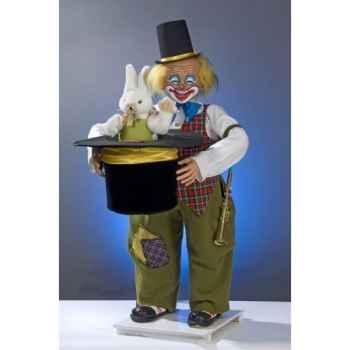 Automate - clown tirant un lapin d'un chapeau Automate Décoration Noël 416