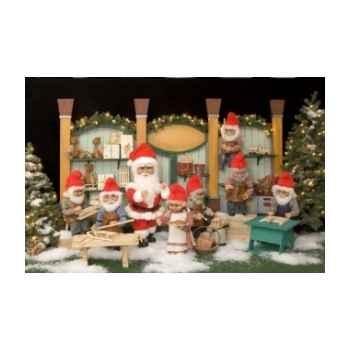 Automate - lutin du père-noël peignant un jouet Automate Décoration Noël 453