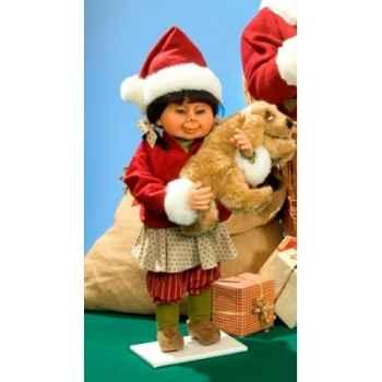 Automate - fillette en cosutme de noël avec chien Automate Décoration Noël 590