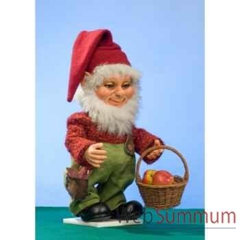 Automate - garçon en cosutme de noël avec panier de pommes Automate Décoration Noël 591