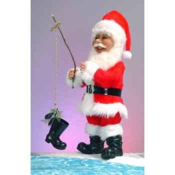 Automate - père noël avec canne à pêche Automate Décoration Noël 645