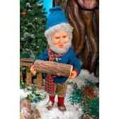 automate elfe barbu tenant une buche automate decoration noe660