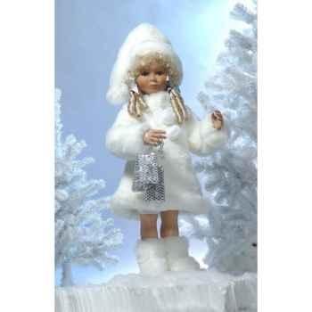Automate - fillette en costume de noël blanc avec cadeaux Automate Décoration Noël 670