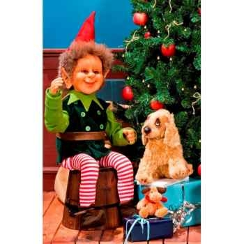 Automate - elfe assis, saluant Automate Décoration Noël 680