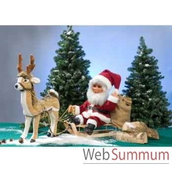 Automate - cerf avec père noël sur luge Automate Décoration Noël 743