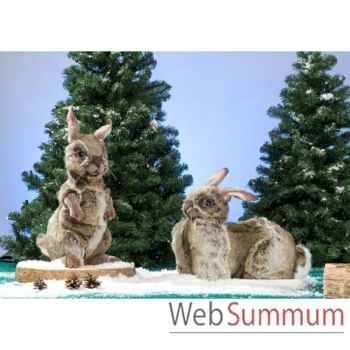 Automate - lapin brun, couché, tournant la tête Automate Décoration Noël 777