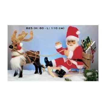 Automate - renne avec père noël sur une luge Automate Décoration Noël 825